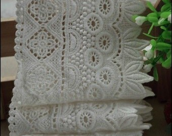 Cotton Emrbroideried Lace Retro Hollow out Lace Trim 3.5 Inches Wide 2 yards E0968