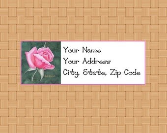 Address Labels Personalized Labels Return Labels Flower Labels Small Pink Rose Labels