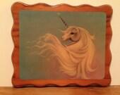 1980's Vintage Unicorn Lacquer Plaque