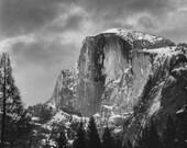 Art Print Yosemite, Half Dome, snow, black and white, granite, rock, forest, cloud, sky
