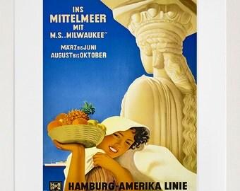 Mediterranean Travel Poster Decor Wall Art Print (ZT251)