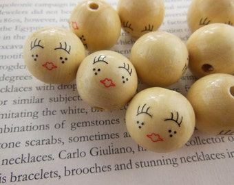 10pcs 20mm wooden round bead with hand painted girl smile kiss imprint.