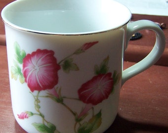 Vintage FTD pink morning glory glories china mug Made in Japan