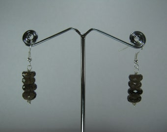 Christmas Sale - Faceted Smoky Quartz Earrings