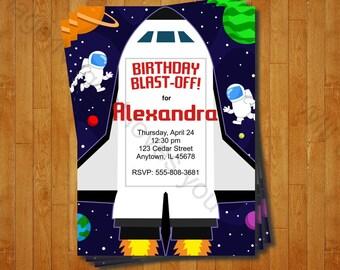Space NASA Astronaut Birthday Invitation Printable