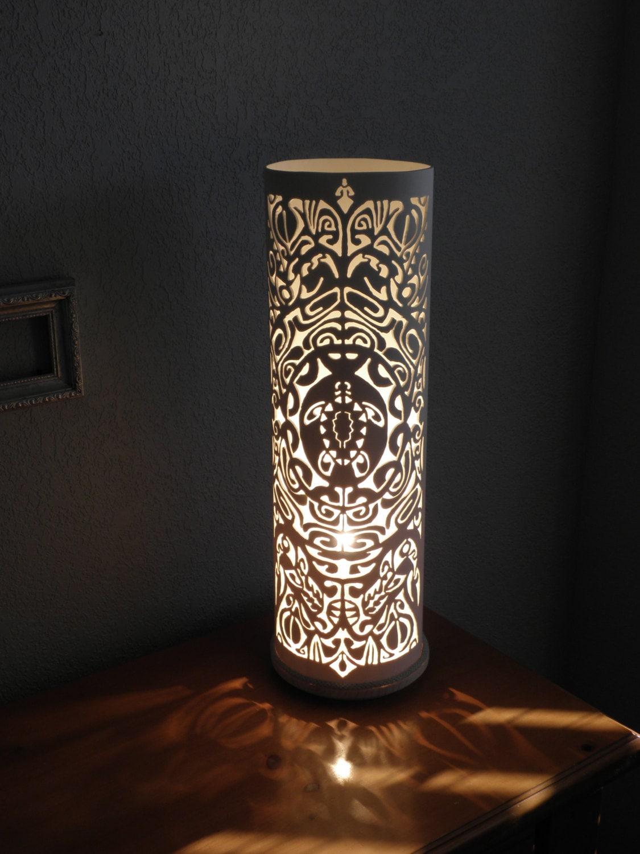 Ancient Maori Tribal Art Table Lamp Ta Moka Turtle Handmade