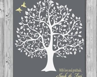 Bride Groom Parents Wedding Art Print, Groom Bride Parents Gift, Wedding Tree Art Print, Wedding Art Print Gift 167