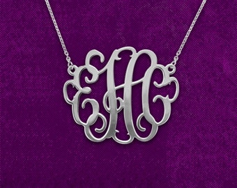 Monogram Necklace 1.5 inch Sterling Silver Handcrafted Personalized Monogram Initial Necklace