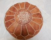 Genuine leather Moroccan Pouf - Moroccan Ottoman- Moroccan floor Pilow