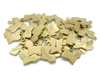 Tiny Brass Louisiana State Charms Pendants, 6 pcs, Made in the USA