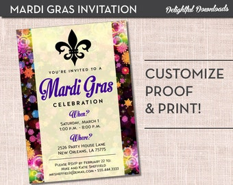 Mardi Gras Invitation - Multicolor Fleur De Lis - Printable Customized