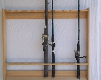 Fishing rod etsy for Wall fishing pole holder