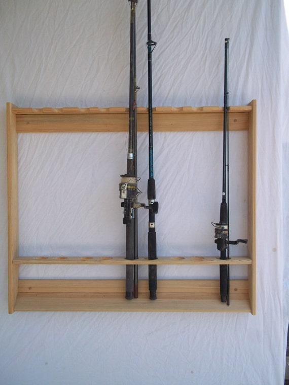 Wallmount fishing rod pole rack unfinished red oak for Wall fishing rod holder