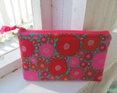 Cosmetic Zippered Bag Pink Floral Small