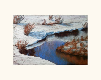 Winter pastel painting on sanded paper. Snow covered riverbanks.Snow painting, original painting, landscape painting.