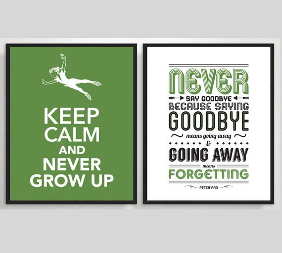 2 x Peter Pan Printable Poster, Typography Print, Quote Print, Movie Poster