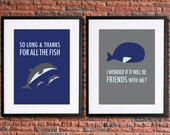 Hitchhiker's Guide to the Galaxy Poster Art | Two Instant Download Printables | Thanks for All the Fish | Douglas Adams Sci Fi Poster | 42