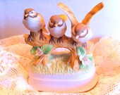Music Box Vintage Three Birds on a Branch Royal Crown Figurine APRIL LOVE  Vintage Home Accessory