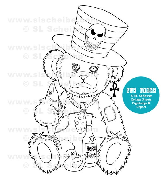 Digital stamp Teddy Bear, sad teddy bear Low Brow Art, instant download digistamp