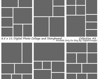Instant Download- 8.5x11 Storyboard Photographers Template 6 Different Photoshop Digital Collage Templates Photo Blog Board Collection #2