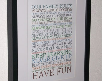 Family Rules Typography Frame