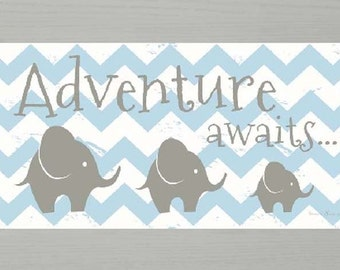 "Adventure Awaits Elephant Blue Chevron Nursery Art Framed Picture 13x22"""