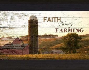 """Faith Family Farming Barn Silo Farm Western Picture Framed Art  13x22"""""""