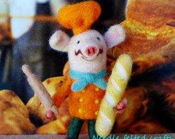 Needle felted pig- Chef de Porc handmade wool OOAK