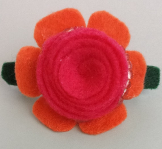 Bright Felt Flower Barrette