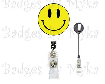 Retractable ID Badge Holder -Smiley Face