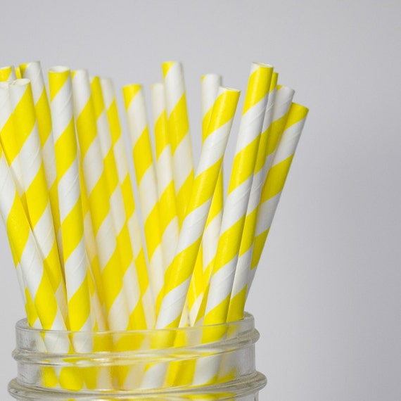 Yellow Striped Paper Straws - 25 Ct.