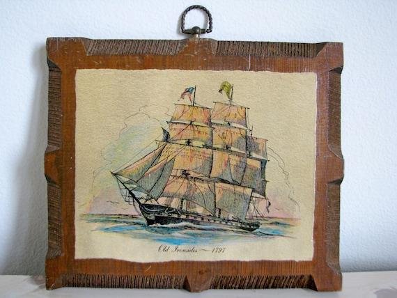 Vintage Nautical Wall Decor Old Ironsides Ship Boat Sails