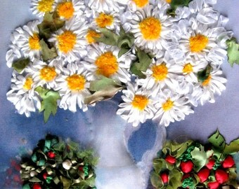 """Silk Ribbon Embroidery Artwork """"A Bouquet of Daisies in  Carafe"""". Unframed"""