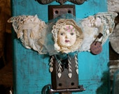 "CANVAS Assemblage Art Fairy/Angel- Aqua Background 8x10 ""Key To My Heart"" OOAK"