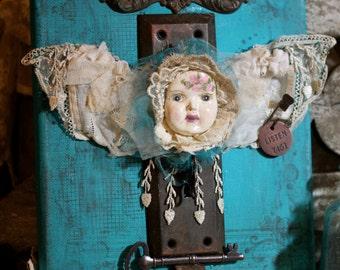 "CANVAS Assemblage Art Fairy/Angel- Aqua Background 8x10 ""Key To My Heart"" OOAK"