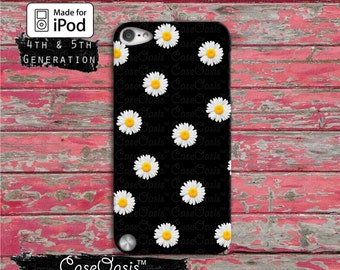 Daisy Flower Pattern Cute Yellow Tumblr Black iPod Touch 4th Generation or iPod Touch 5th Generation or iPod 6th Generation Gen Rubber Case