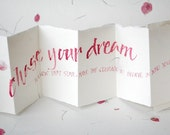 Chase your Dream, courage, self belief, uplifting quote, handwritten card, pink petal paper, luxury personalised card, inspiring words,