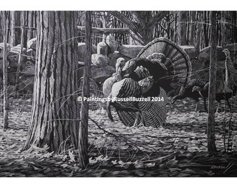 New England Wild Turkeys Print by Russell Buzzell