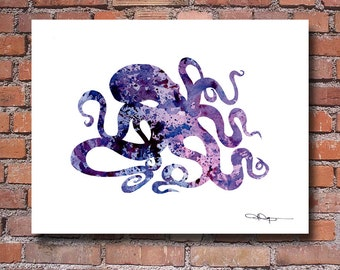 Purple Octopus Art Print - Watercolor - Abstract Painting - Wall Decor