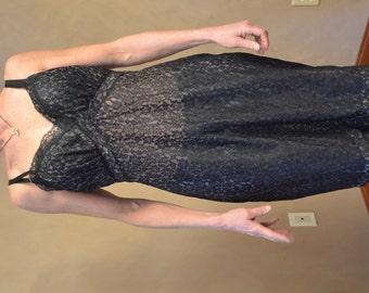 Vintage black lace dress slip