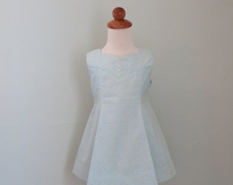 Blue Flower Sundress, vintage Mail Order pattern, Size 2
