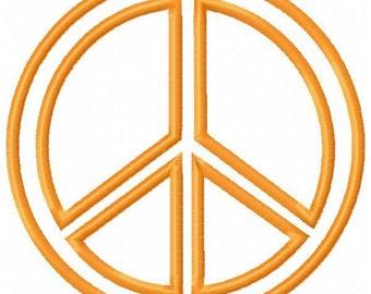 Peace Sign Applique Embroidery Design