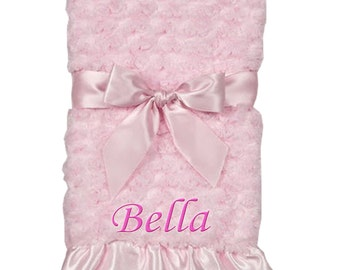 Pink Swirly Snuggle Baby Blanket - Personalized Embroidery