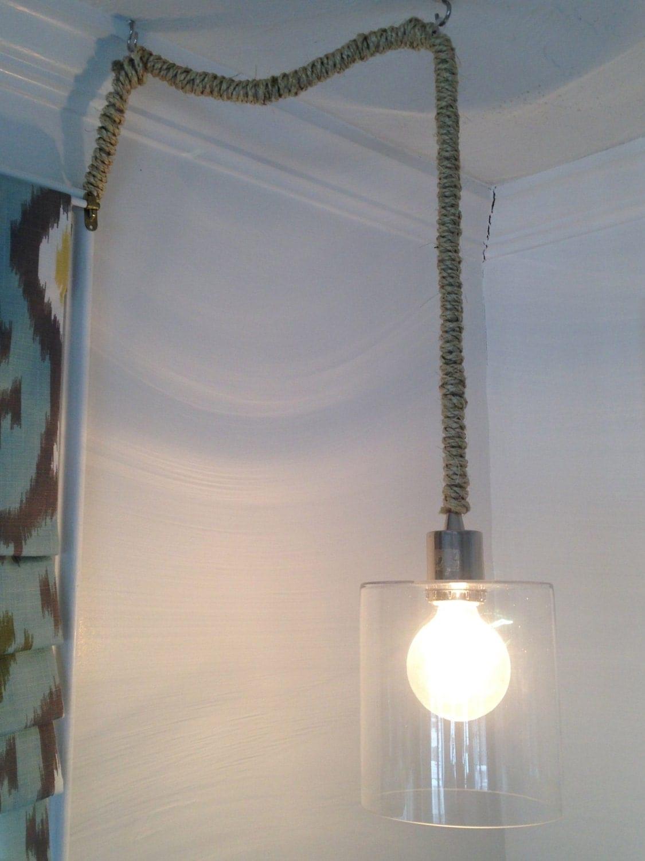Items similar to Nautical Rope Pendant Light - PLUG IN on Etsy