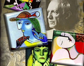 Picasso  -1x1 inch Digital Collage Sheet Printable 48 Download for pendants magnets paper craft scrapbooking journalig