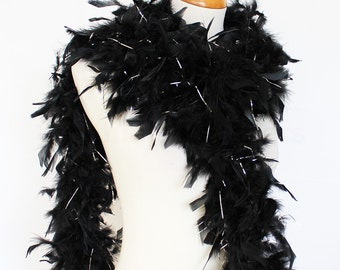 "65g, 72"" black w/ silver tinsel chandelle feather boa for bacheloratte party, wedding, etc. SKU: 8G42"