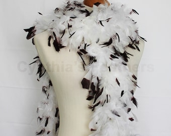"65g, 72"" white w/ brown tips chandelle feather boa for dancing, dress up, crafting, etc. SKU: 8F21"