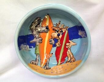"Hand Painted Ceramic Pet Bowl - ""Surfing Safari"""