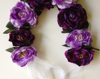 Purple Peony Ribbon Headband