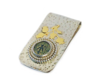 Ancient Maccabean Coin Hammered Silver and Gold Money Clip